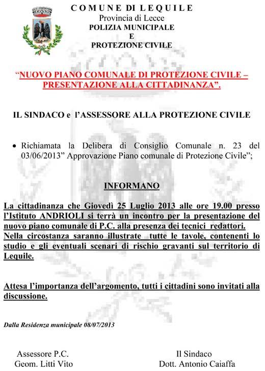 Nuovo piano comunale di protezione civile – presentazione alla cittadinanza