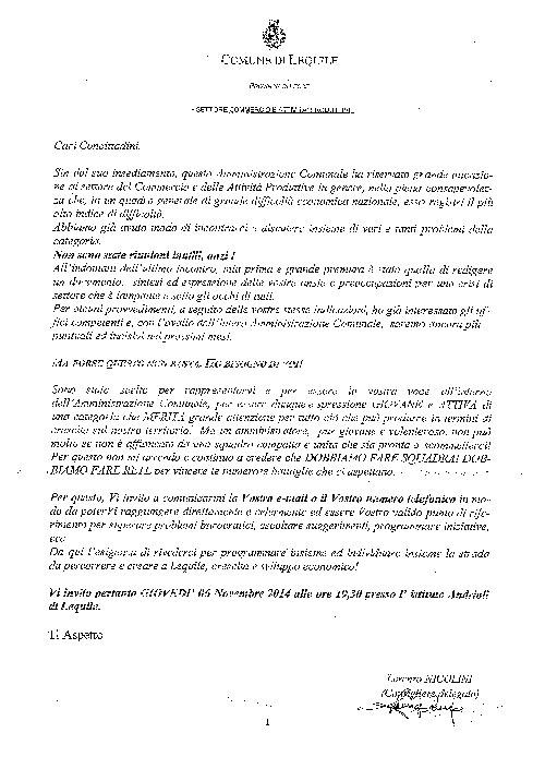 Lettera invito del consigliere delegato al commercio – Lorenzo Nicolini ai commercianti per Giovedì 06/11/2014 ore 19.30 presso Istituto Andrioli