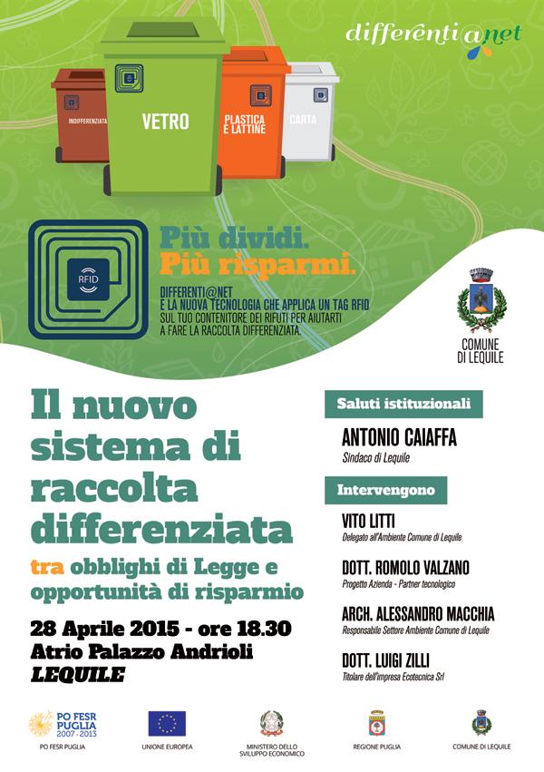 Il Nuovo sistema di raccolta differenziata – Martedì 28 Aprile ore 18,30 presso l'atrio dell'Istituto Andrioli