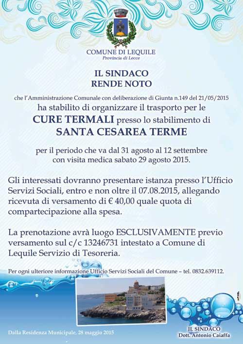 Trasporto per le cure termali presso lo stabilimento di Santa Cesarea Terme per il periodo che va dal 31 agosto al 12 settembre