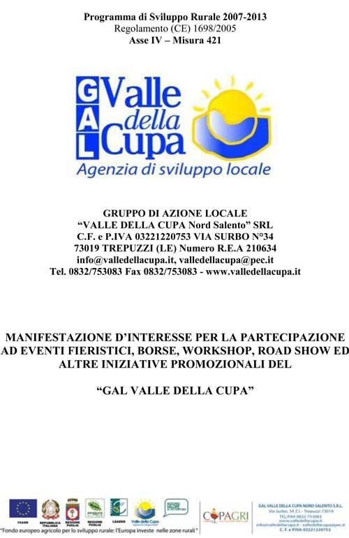 """Avviso manifestazione d'interesse per la partecipazione ad eventi fieristici, borse, workshop, road show ed altre iniziative promozionali del """"GAL Valle della Cupa"""""""