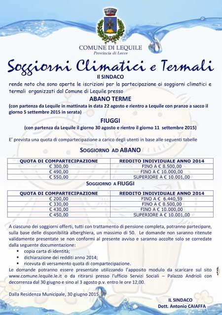 Soggiorni climatici e termali organizzati dal Comune di Lequile presso  ABANO TERME e FIUGGI