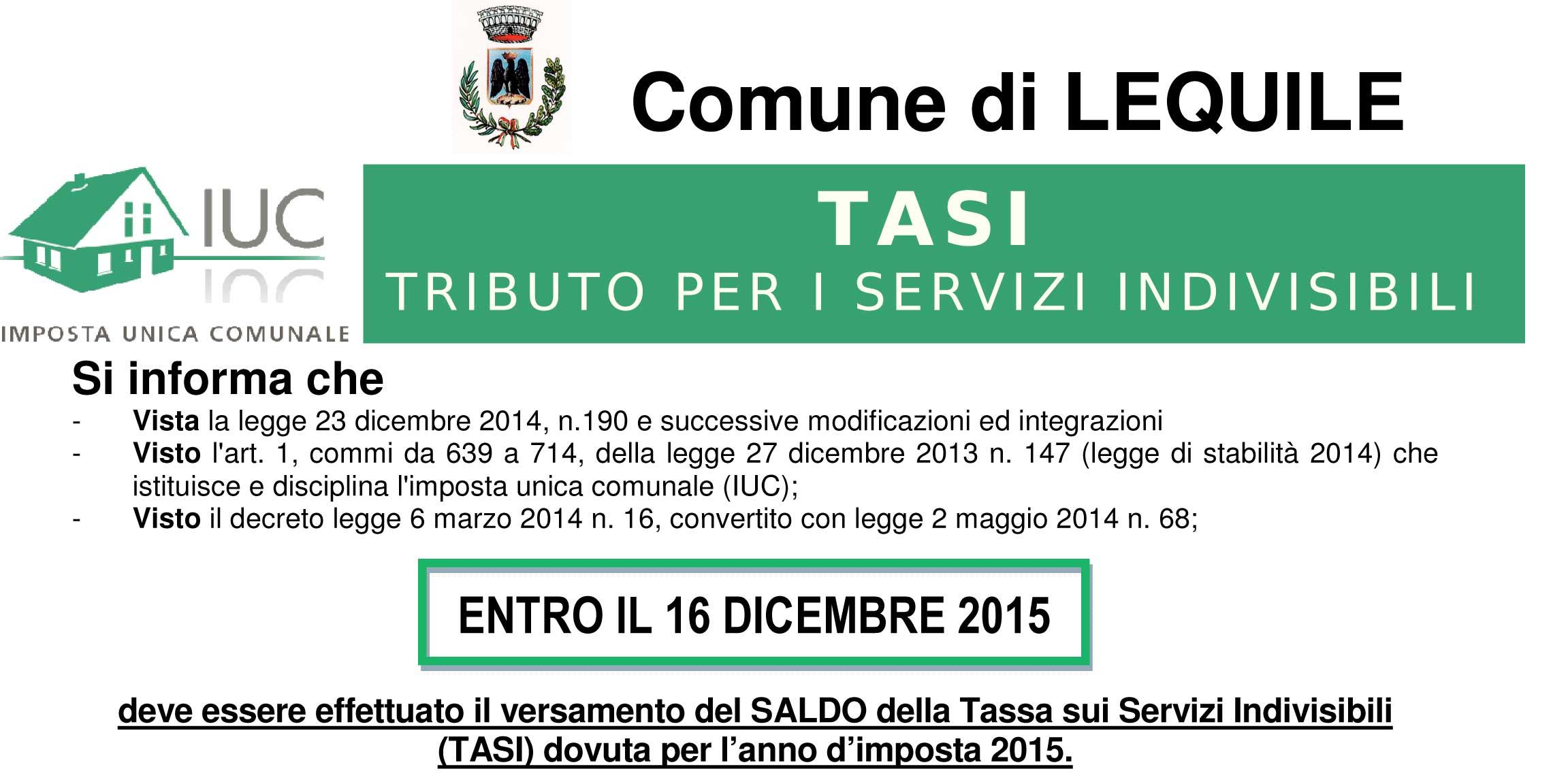 Tassa sui Servizi Indivisibili (TASI) dovuta per l'anno d'imposta 2015 – scad. 16.12.2015