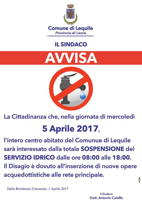 5 Aprile – Interruzione del servizio idrico dalle 8.00 alle 18.00