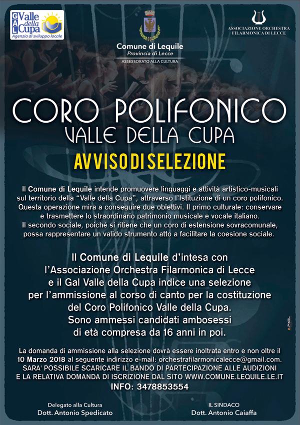 Selezione per l'ammissione al corso di canto per la costituzione del Coro Polifonico Valle della Cupa.