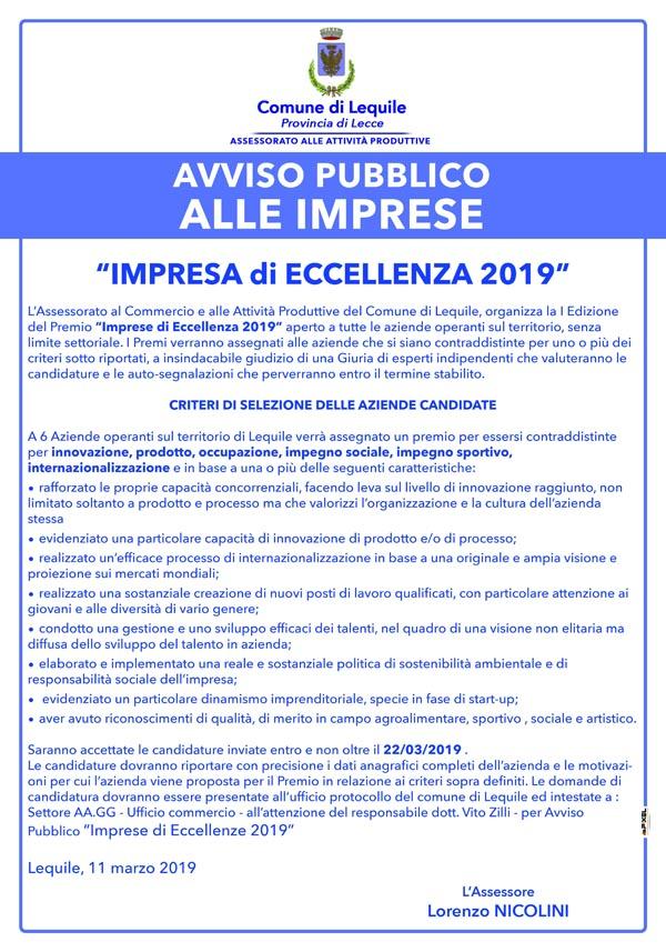 """Avviso pubblico alle imprese: """"IMPRESA di ECCELLENZA 2019"""""""