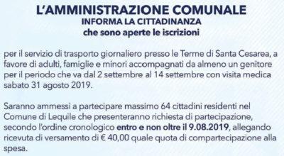 """Servizio di trasporto """"Terme di Santa Cesarea"""""""