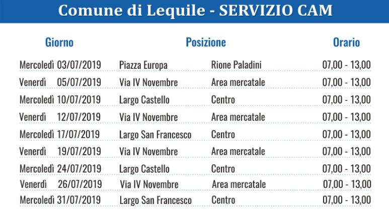Calendario 31 Luglio 2019.Comune Di Lequileservizio Cam Centro Ambiente Mobile