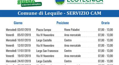SERVIZIO CAM (Centro Ambiente Mobile) Calendario mese Luglio 2019