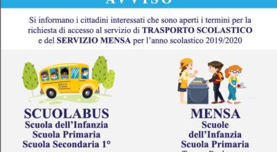 """Avviso: sono aperti i termini per la richiesta di accesso al servizio di """"Trasporto scolastico e del Servizio Mensa"""" – anno scolastico 2019/2020"""