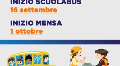 Si informa che ha inizio: il 16 settembre il servizio Scuolabus e il 1 ottobre il servizio Mensa