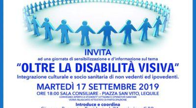 """""""Oltre la disabilità visiva"""": giornata di sensibilizzazione e d'informazione, Martedì 17 settembre 2019 ore 18:00 Sala Consiliare, Piazza S. Vito – Lequile"""