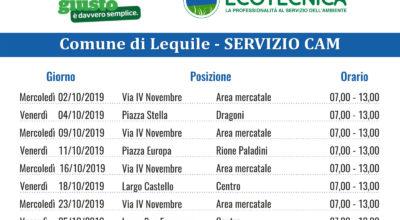 SERVIZIO CAM (Centro Ambiente Mobile) CALENDARIO MESE OTTOBRE 2019