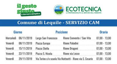 SERVIZIO CAM (Centro Ambiente Mobile) CALENDARIO MESE NOVEMBRE 2019
