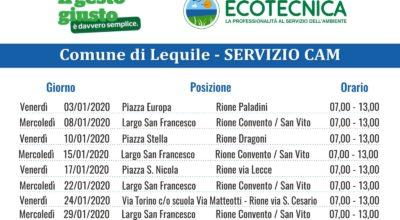 SERVIZIO CAM (Centro Ambiente Mobile) CALENDARIO MESE GENNAIO 2020