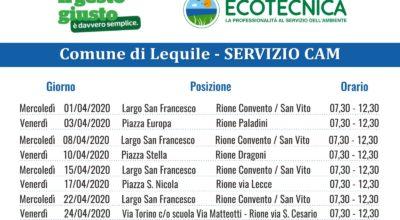 SERVIZIO CAM (Centro Ambiente Mobile) CALENDARIO MESE APRILE 2020