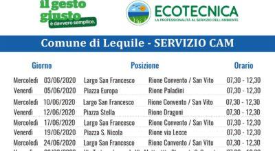 SERVIZIO CAM (Centro Ambiente Mobile) CALENDARIO MESE GIUGNO 2020
