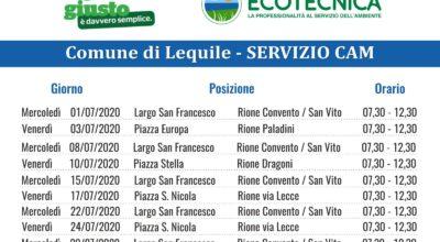 SERVIZIO CAM (Centro Ambiente Mobile) CALENDARIO MESE LUGLIO 2020