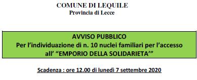 Avviso pubblico per l'individuazione di n.10 nuclei familiari per l'accesso all'Emporio della Solidarietà