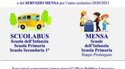 Avviso: si informano i cittadini interessati che sono aperti i termini per la richiesta di accesso al servizio di TRASPORTO SCOLASTICO e del SERVIZIO MENSA per l'anno scolastico 2020/2021