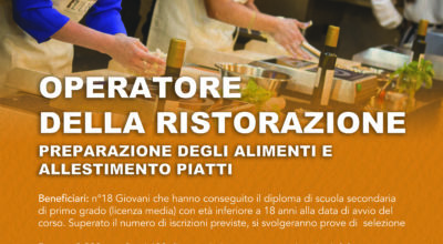 Corso Operatore della ristorazione, gratuito, triennale, per ragazzi dai 15 ai 18 anni che non hanno assolto all'obbligo formativo sede LECCE Avv. OF19