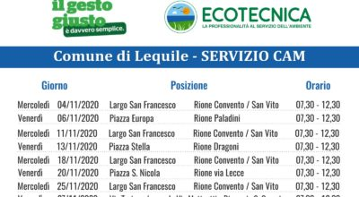 Servizio CAM (Centro Ambiente Mobile) CALENDARIO MESE NOVEMBRE 2020