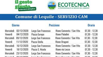 SERVIZIO CAM (Centro Ambiente Mobile) CALENDARIO MESE DICEMBRE 2020