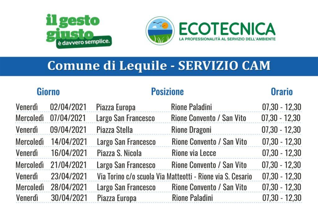 SERVIZIO CAM (Centro Ambiente Mobile) CALENDARIO MESE APRILE 2021