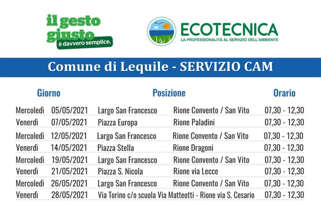 SERVIZIO CAM (Centro Ambiente Mobile) CALENDARIO MESE MAGGIO 2021