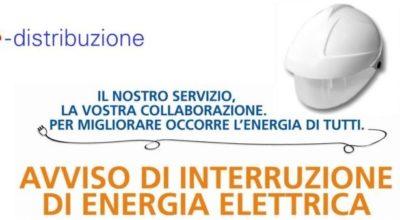 Avviso di interruzione di energia elettrica per Giovedì 21 ottobre 2021 dalle ore 8.30 alle 16.20